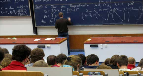 A math class in a large lecture hall.