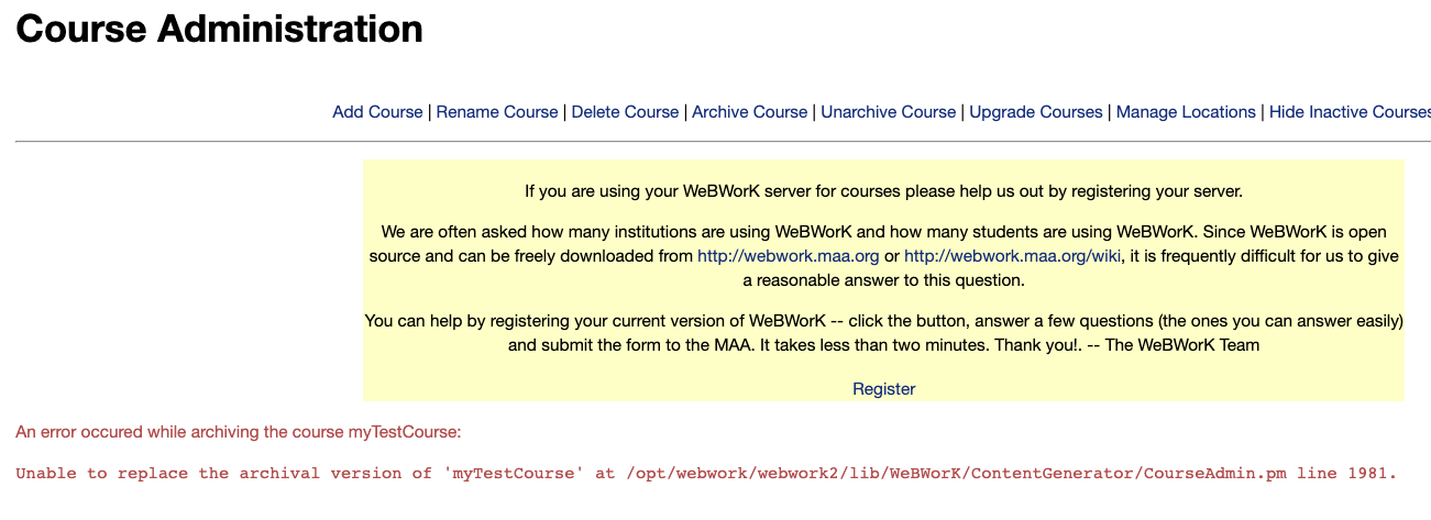 Archive course error