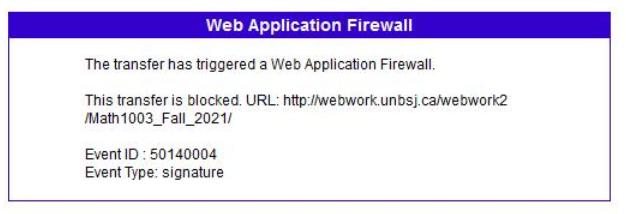 WAF error message