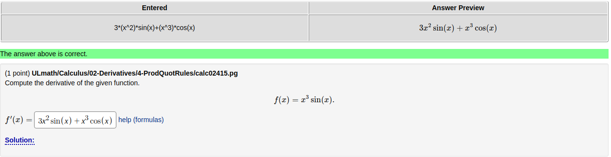 """the results table, missing the """"Correct"""" box"""
